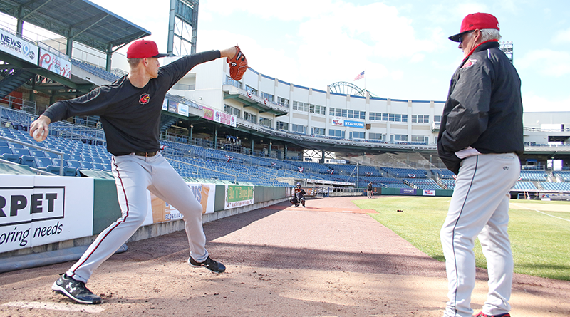 Pitcher Aaron Slegers, who currently leads the league with 12 wins, practicing under Stu Cliborn's supervision. Joe Territo/Rochester Red Wings