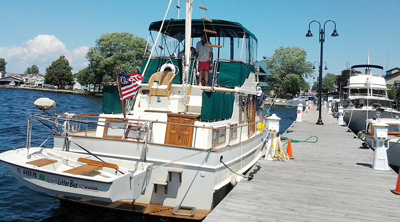 The Cat's Meow, docked during its 7,000-mile trip around the inner waterways of eastern North America.