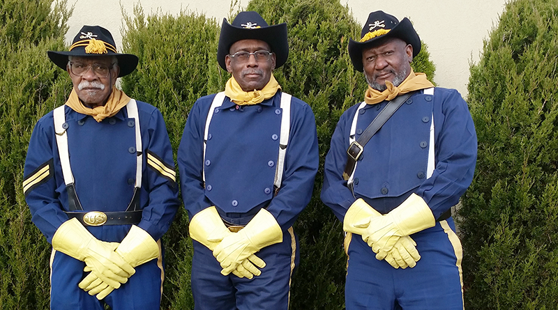 Some of the members of the Rochester Buffalo Soldiers who travel talking about African American military history. From left are Charles Price, a Tuskegee airman in World War II and the firstblack Rochester police officer, Danny Wyatt and Bing Reaves. Photo by Christine Green