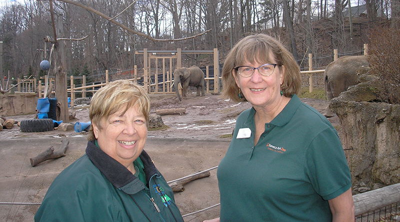 Jan Barney and Susan Herzberg are volunteer docents at Seneca Park Zoo. They help the public learn more about the zoo and the 389 animals that live there.