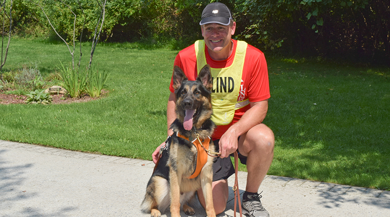 Richard Hunter hopes his running guide dog, Klinger, will receive plenty of online votes in his bid for American Humane's American Hero Dog, and in turn earn $5,000 for Guiding Eyes for the Blind. Photo provided by Guiding Eyes for the Blind.