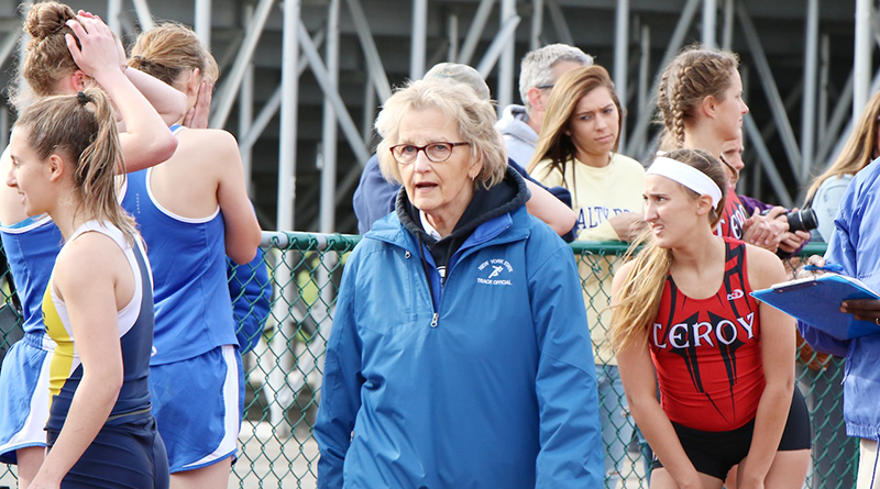 Kathy McLymond of Williamson has traveled the country officiating track and field events.