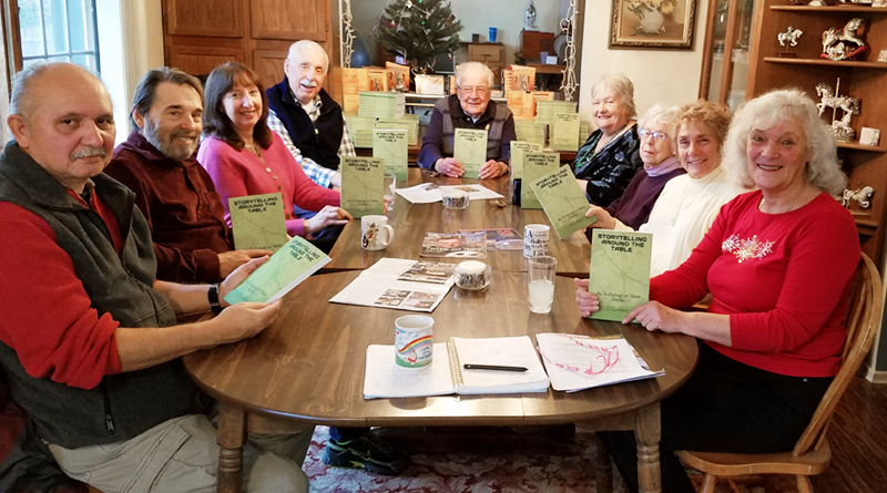 "Members of the ""Express Yourself in Writing"" class at Osher, from left: Rafael Acosta, James Cornell, Sharon Lansing, Gerald Honch, Bob Whelan, Barbara Fisher, Patricia Edelman, Joyce Arnold and Judith Burns (a.k.a J.A. Goodman). Photo by Christine Green."