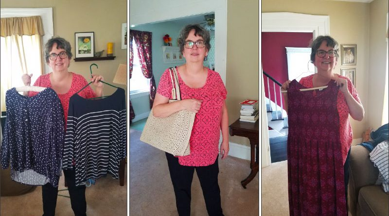 """SUNY Brockport professor Melissa Brown, 61, with clothing she bought online through a clothing subscription company, stitchfix.com. """"They whole point of this is that I don't have to go to the mall. What is amazing is that the clothes always fit,"""" she says."""