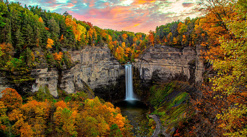 Taughannock Falls in Tompkins County. The falls carve a 400-foot deep gorge through layers of sandstone, shale and limestone that were once the bed of an ancient sea.